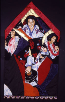 Gülsün Karamustafa. 'Prayer Rug with Elvis'(1986), rug collage. Artist presented at Villa Reykjavik by Rodeo, Istanbul.