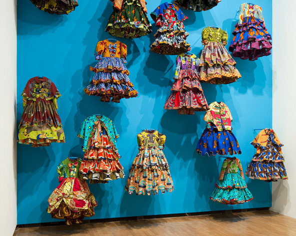 "Yinka Shonibare 'Little Rich Girls' (2010) @ ""Aware: Art Fashion Identity"" Courtesy Royal Academy of Arts, London Photo: Andy Stagg,"