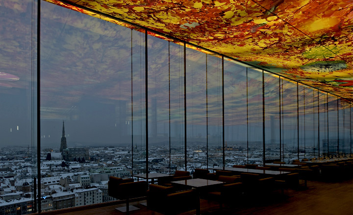 Pippilotti Rist's dramatic celing in the top floor restaurant