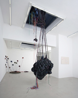 Nicholas Hlobo, 'Mondle umkhulise' 2009. Mixed media,m 8 x 1,3  Installation view.