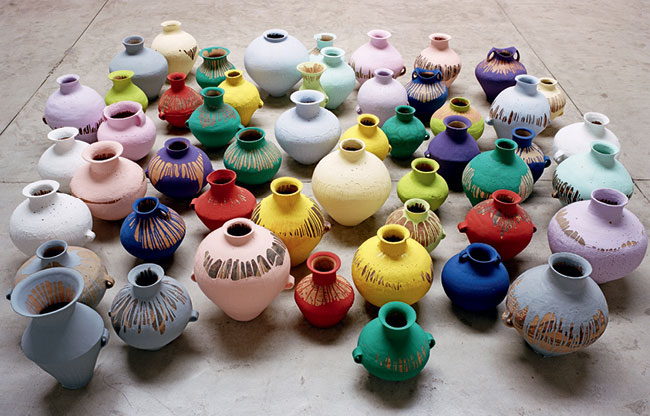 Ai Wei Wei 'Coloured Vases' (2009). Neolithic vases and industrial paint. Courtesy of the artist and Lisson Gallery, London